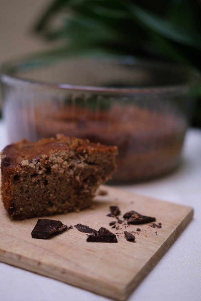 banana bread with pieces of dark chocolate